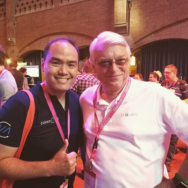 Yesterday ran into Mister Clean Code himself: Uncle Bob 😀 #codedvalue #cleancode #unclebob